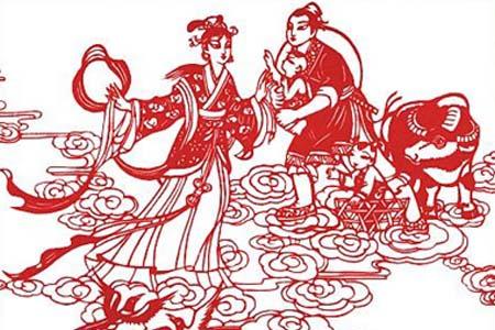 古代七夕节剪花图